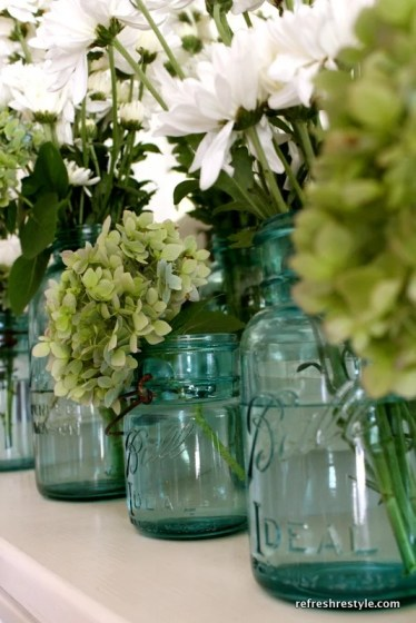 mason jar with fresh flower arrangement