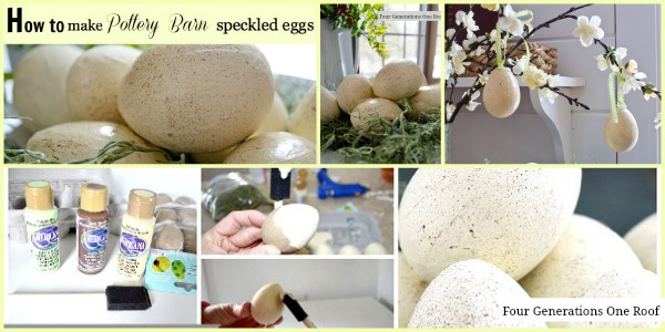 how to make pottery barn speckled eggs tutorial collage