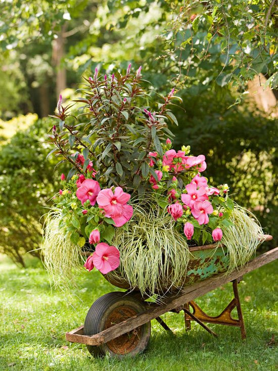 outdoor wheel barrow planter