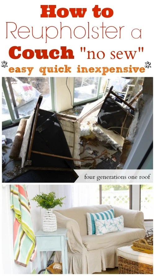 Awe Inspiring How To Reupholster A Couch No Sew Four Generations One Roof Gmtry Best Dining Table And Chair Ideas Images Gmtryco