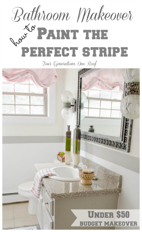 painting stripes bathroom makeover