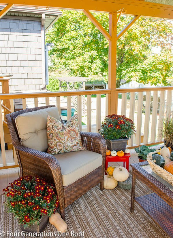 autumn decorating on our porch