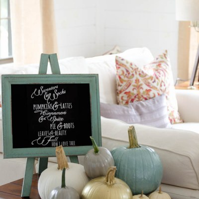 Our Painted Pumpkins Vignette