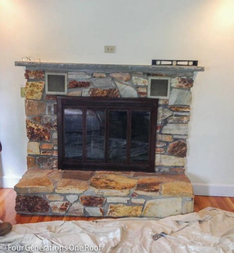 1970's dramatic fireplace makeover