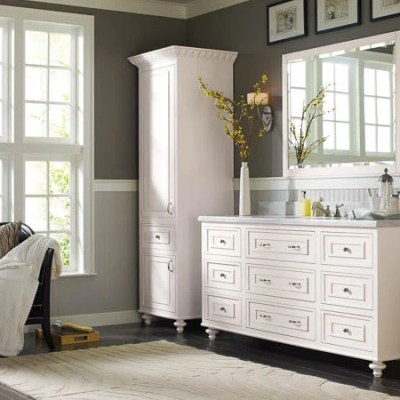 Makeover Bathroom Vanity Omega Cabinetry + free vanity makeover