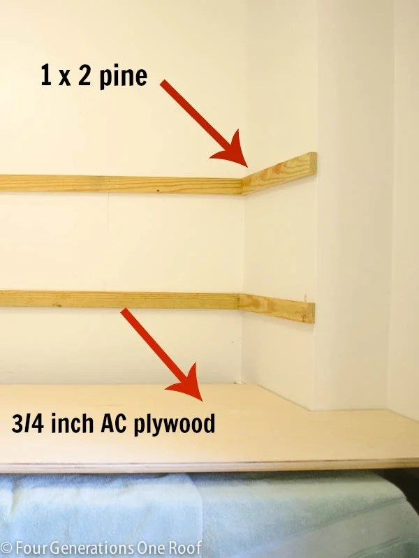 wood cleats for shelves and DIY laundry folding table