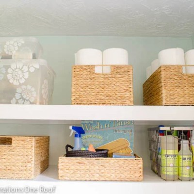 DIY Floating Shelves {laundry room}