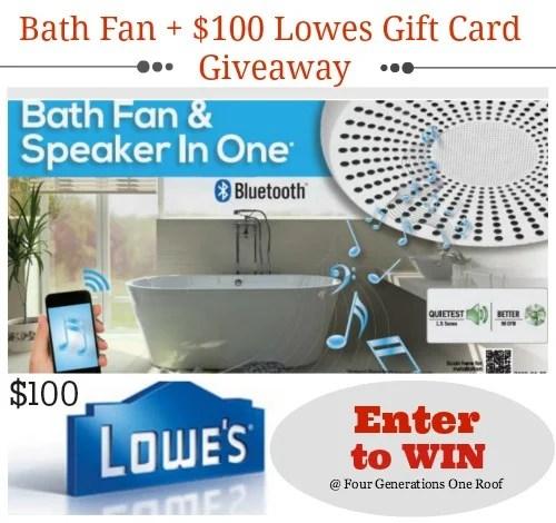 bath fan giveaway + $100 lowes gift card