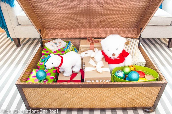 storage trunk hiding gifts