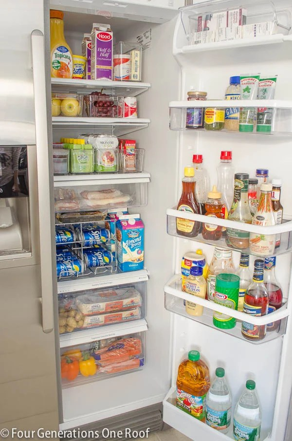 Refrigerator Makeover with pull out storage bins