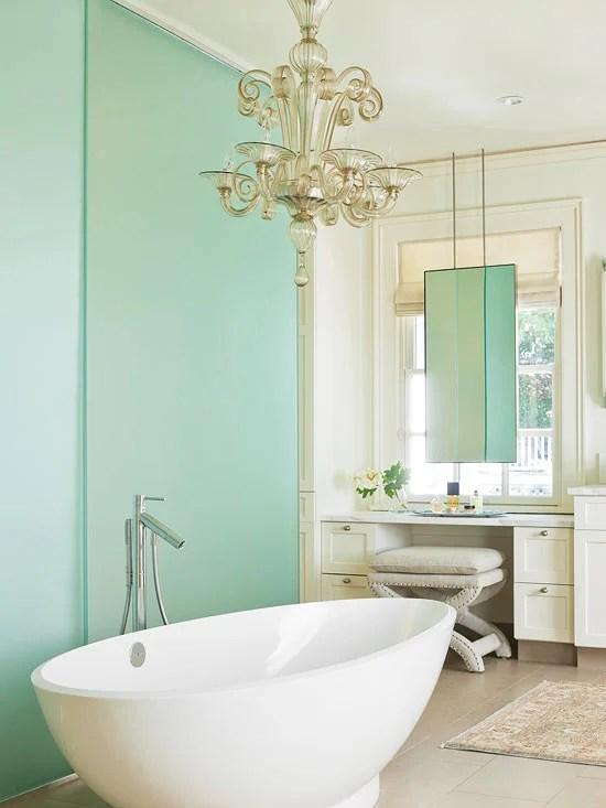 green bathroom accent wall