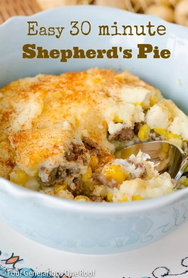 30 Minute Shepherd's Pie with ground beef, corn and potatoes
