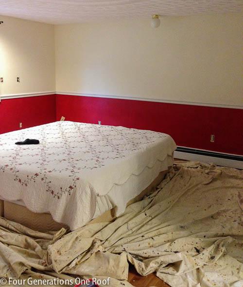 blue master bedroom makeover paint progress