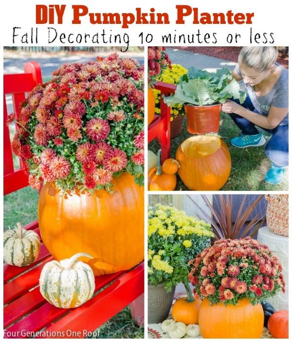diy pumpkin planter fall decorating ideas 10 minutes or less