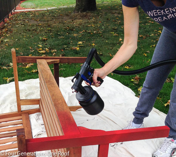 how to paint a red bench + DIY tutorial