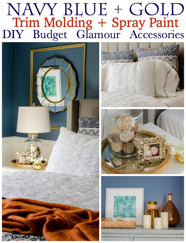 Gorgeous master bedroom navy + gold makeover
