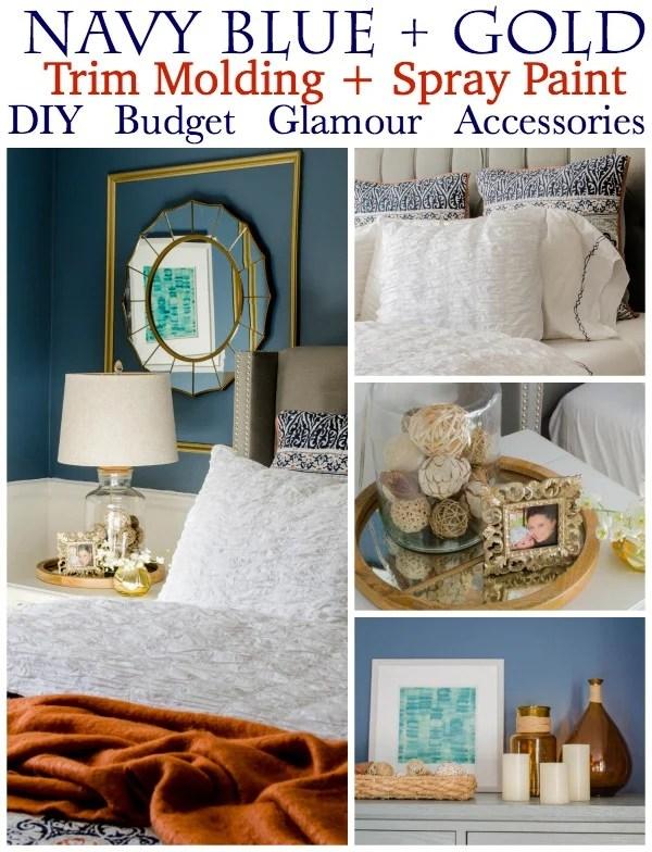 Gorgeous Navy Blue Gold Master Bedroom Makeover Four