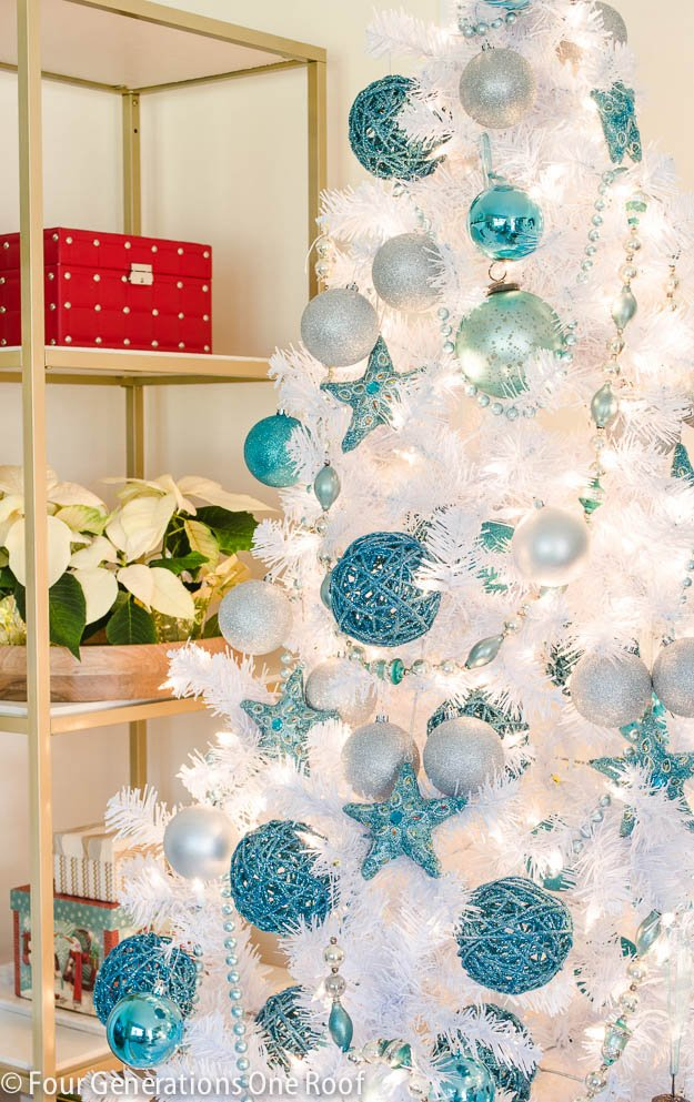 Our cute blue + white Christmas tree - Four Generations ...