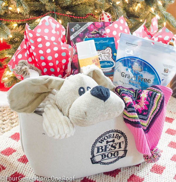 Make this Dog Christmas Gift Basket / Perfect for the hard to buy for friend. Fill a basket full of items to pamper their pet