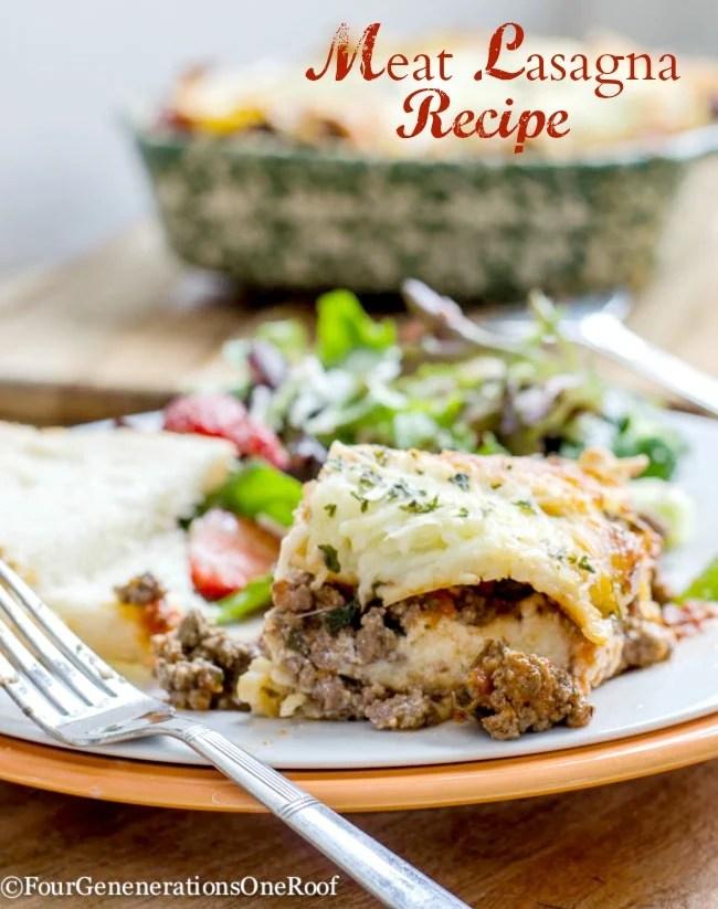 Meat Lasagna Recipe + Mozzarella Cheese