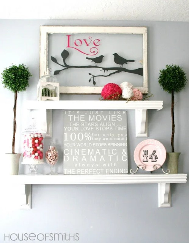 Decorating for Valentine's Day - pink-decorated-shelves