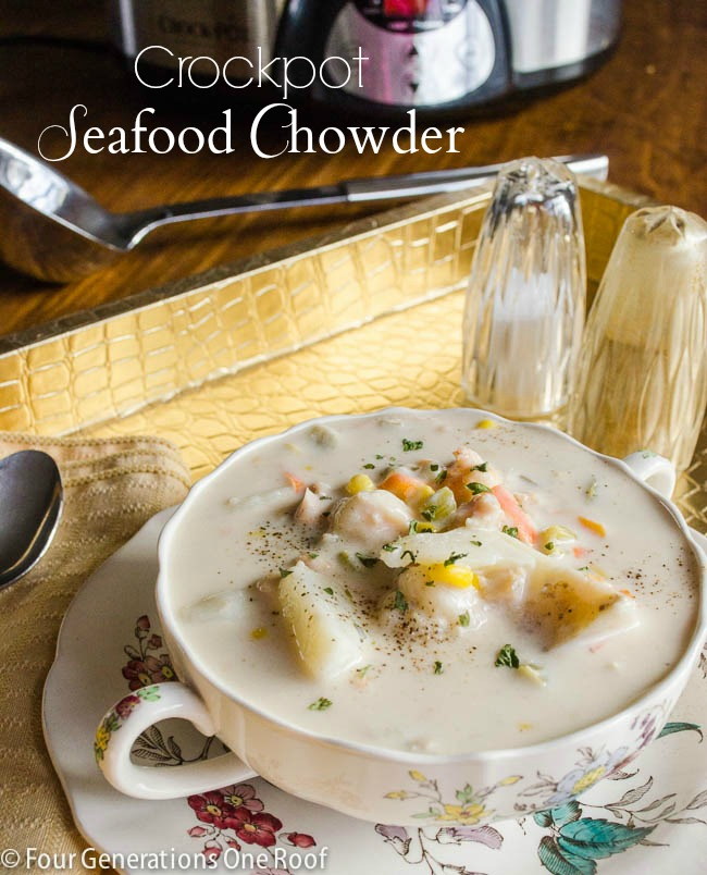seafood chowder {crockpot}, Spode flower china bowl and plate, salt and pepper shaker, gold tray