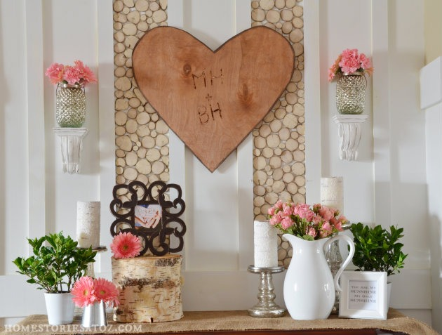 Decorating for Valentine's Day - valentines-mantel