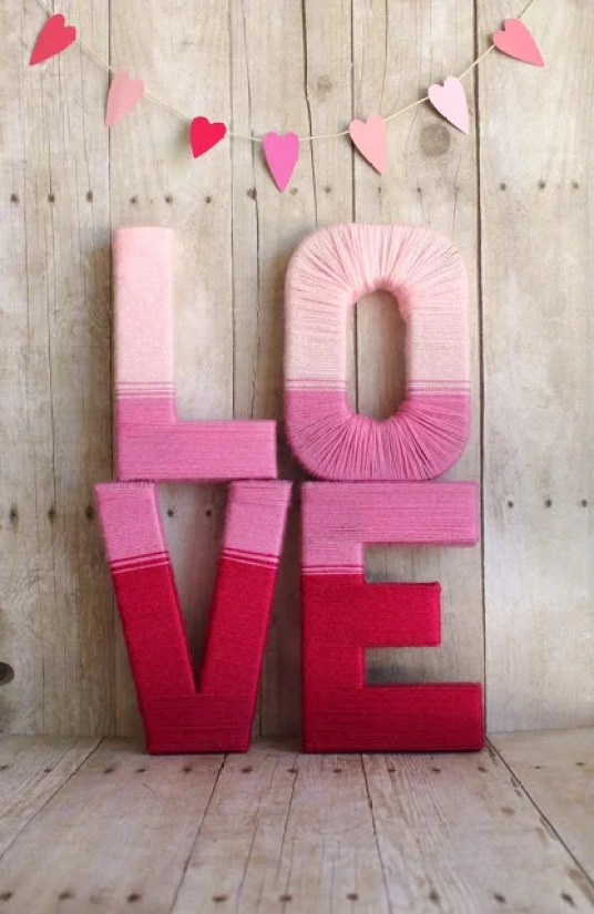 Decorating for Valentine's Day - yarn-wrapped-love