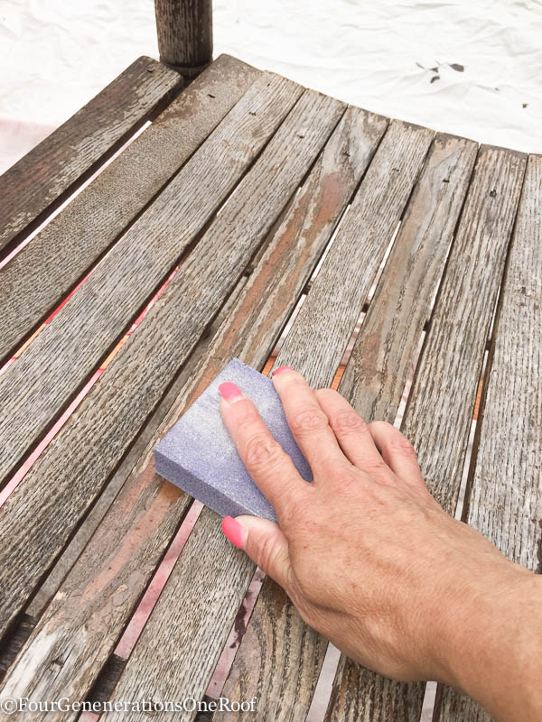 How to spray paint a rocking chair with a sanding block, sanding an old weathered wood chair