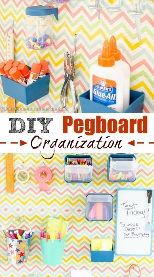 DIY pegboard organization project. Perfect for back to school, office or craft space. I love the idea of using wrapping paper to cover the pegboard!