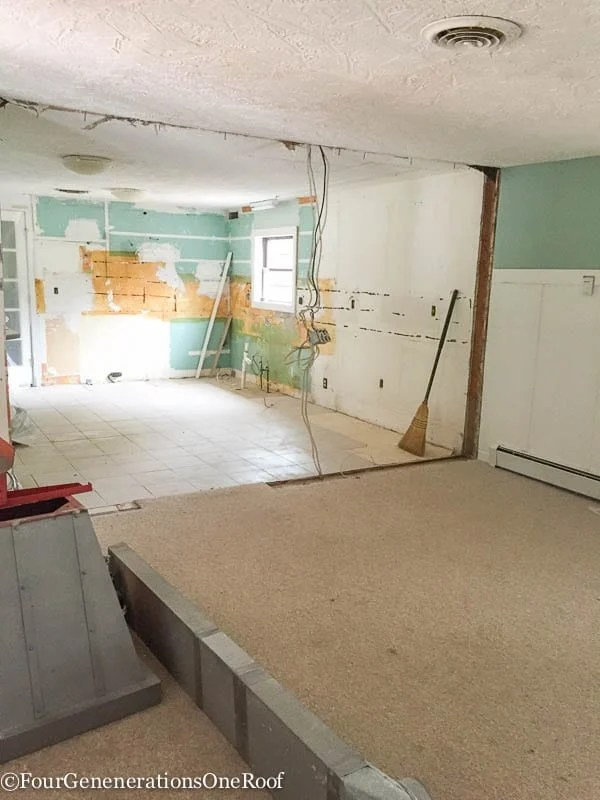 DIY Kitchen Renovation {ripping down wall}. Bye Bye 1960's kitchen
