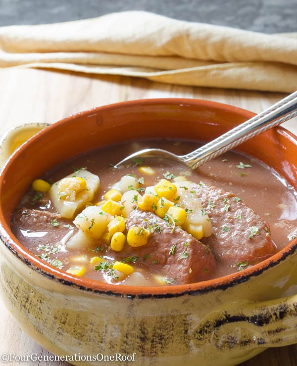 Beef Stew with Corn {crockpot meal}