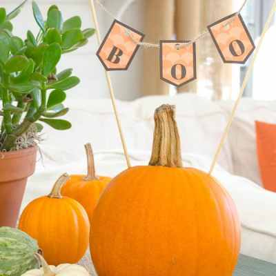 Decorating with Pumpkins {free BOO printable}