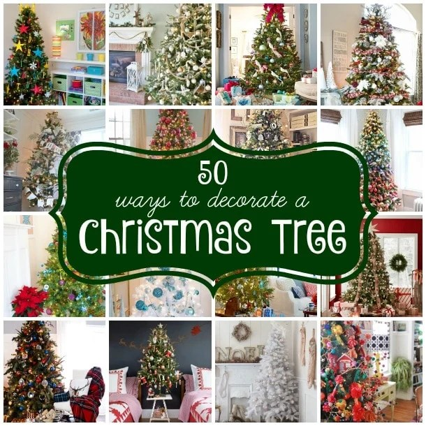 50 Christmas trees. Gorgeous Christmas decorating ideas from bright, neutral, lodge, kids and whimsical Christmas trees