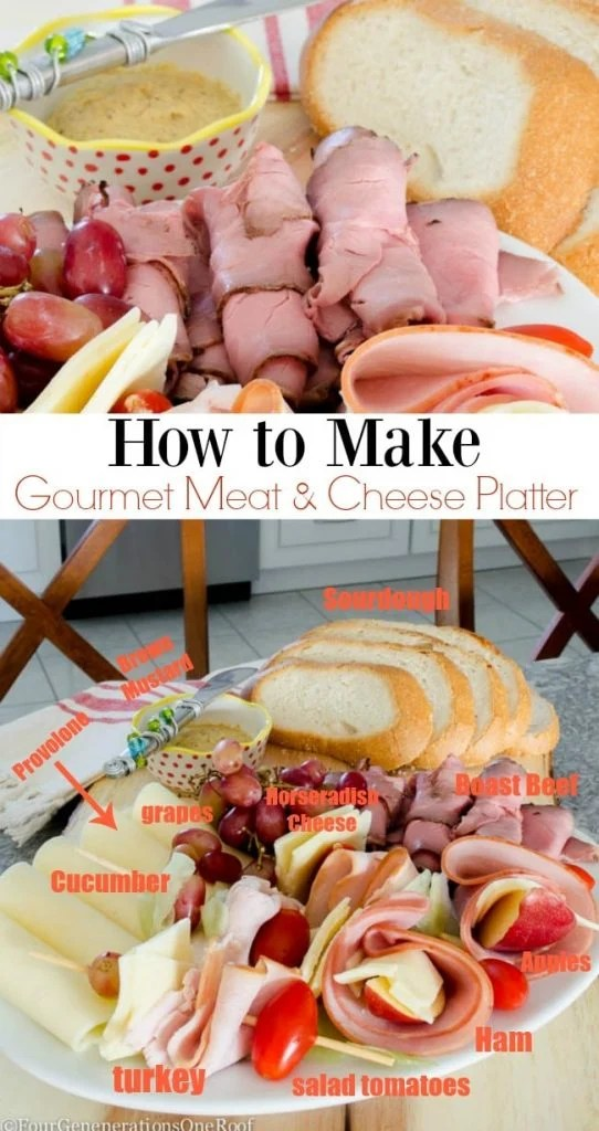 how to make a quick meat and cheese platter loaded with roast beef, ham, turkey, apples, grapes, tomatoes and specialty cheeses.