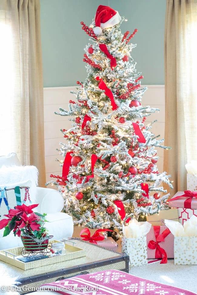 Traditional Christmas Home Tour 2015 Red + White Christmas Family Room 2015