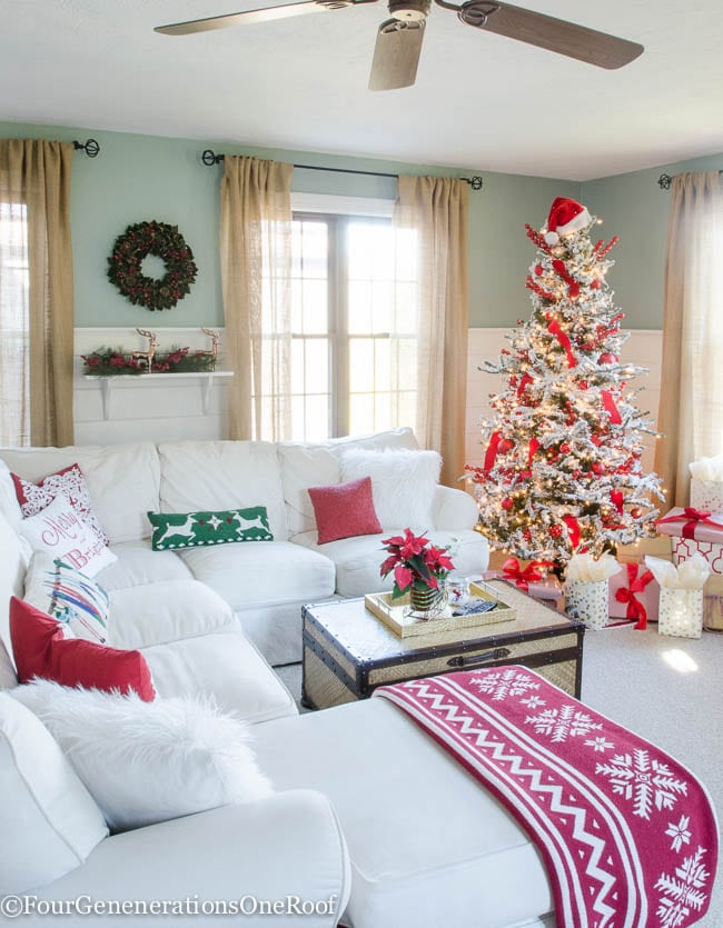 Traditional Christmas Home Tour 2015 Red + White Christmas Family Room 2015