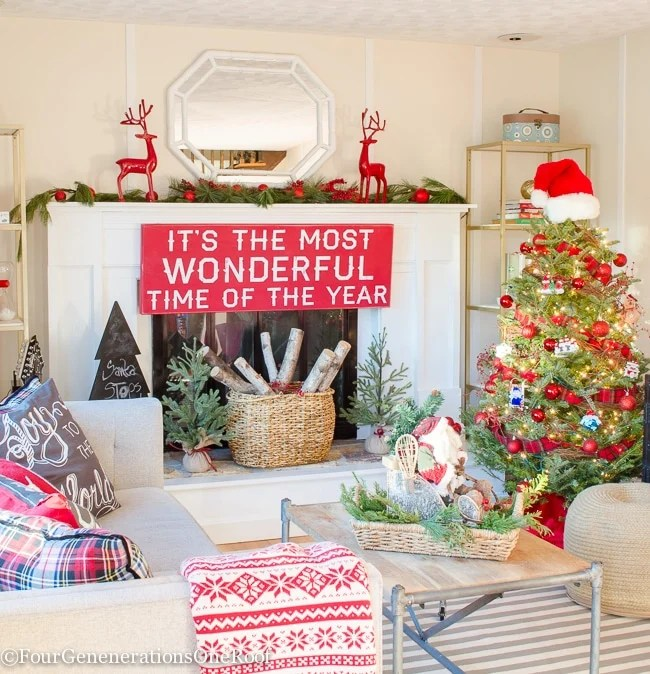 Traditional Christmas Home Tour 2015 Rustic Red Christmas Playroom - Study 2015
