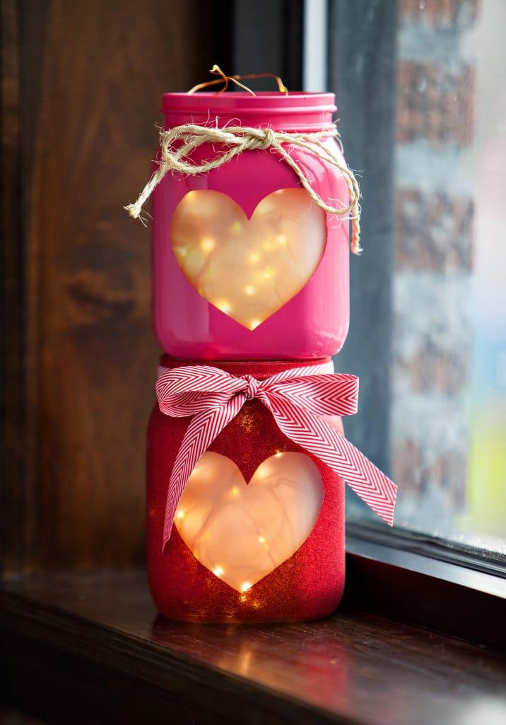 Valentine Mason Jar Ideas: Stacked Hearts Mason Jars by Lights.com