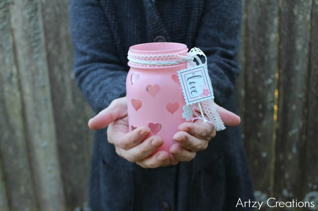 Valentine Mason Jar Ideas: DIY Valentine Votive via Made from Pinterest