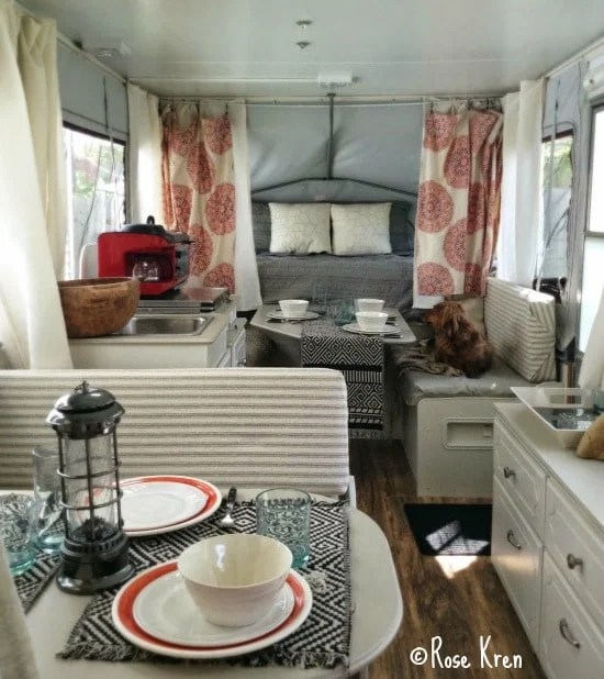 camper with drapes and fancy seating