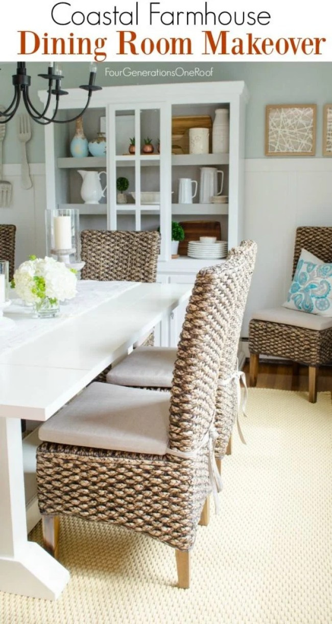 Modern Coastal Farmhouse Dining Room with Seagrass Chairs ...