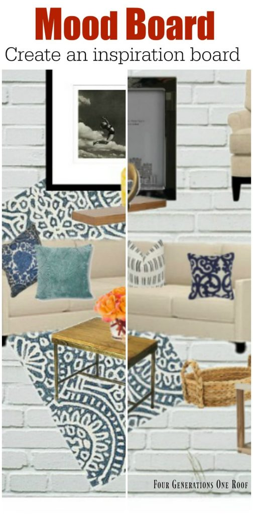 how to create a mood board or inspiration board for a room makeover / family room makeover /
