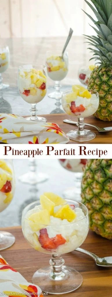Delicious Pineapple Parfait Recipe / Hood Cottage Cheese with Pineapple tastes amazing / Pineapple / Strawberries/ Whip Cream / Honey / Coconut / Chocolate Chips