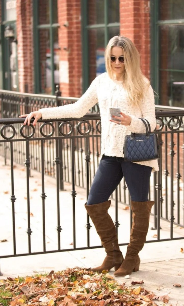 cable knit sweater + booties