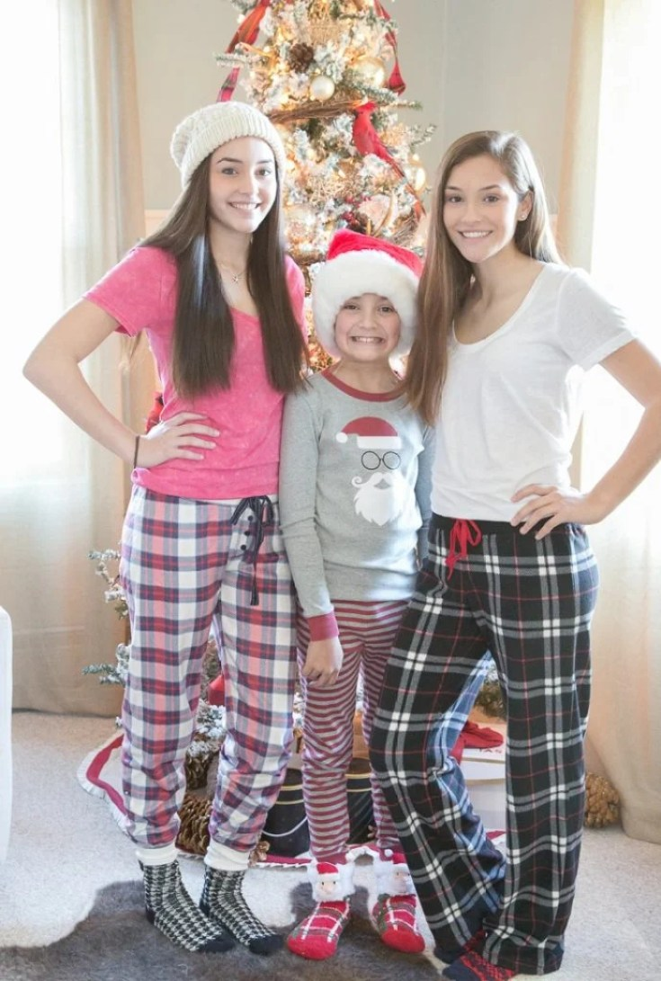 Our family Christmas Pajama Sets {photoshoot} Our Christmas Pajama Sets for Christmas Eve and our Christmas Card. Coordinating plaid, polka dot, nordic and striped pajamas are so festive and fun!