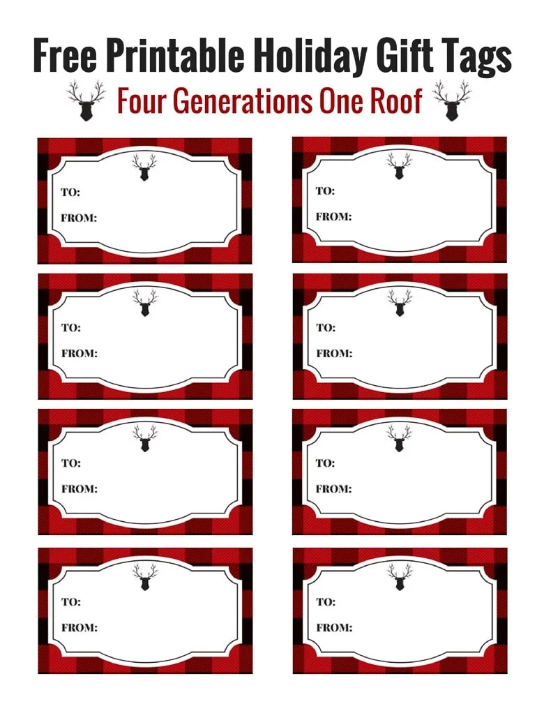 image about Holiday Gift Tags Printable titled Xmas Present Tags Printable - 4 Hundreds of years A person Roof