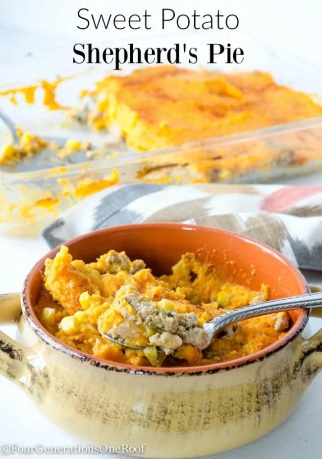 Sweet Potato Shepherd's Pie in tan crock dish