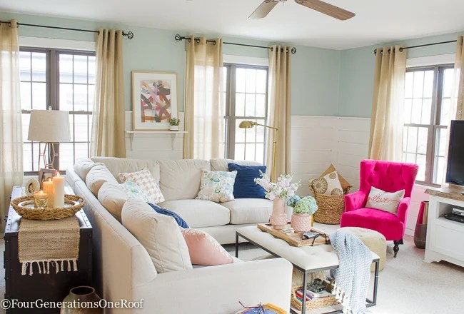 Blue Pink Living Room Decorating Ideas Four Generations One Roof