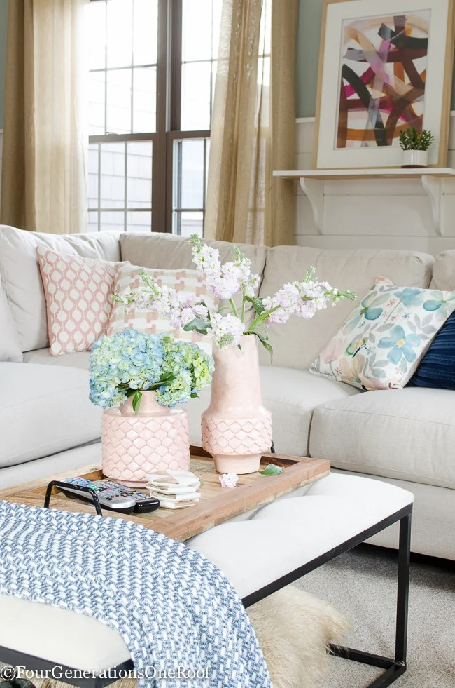 Blue + Pink Living Room Decorating Ideas
